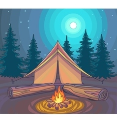 Camping or hiking outdoor recreation adventures vector