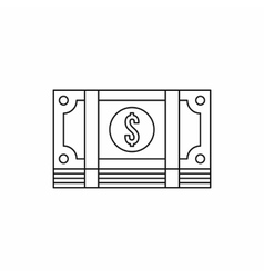Packed dollars money icon outline style vector