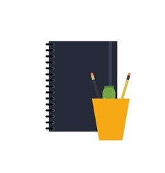 notebook and cup with pencils icon vector image