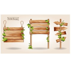 Wooden signs with green leaves decorative elements vector image