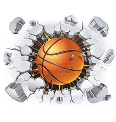 Basketball and old plaster wall damage vector