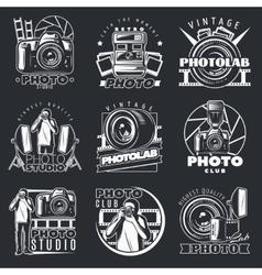Photo studio emblems set vector