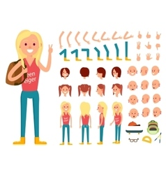 Teenager female person character creation set vector