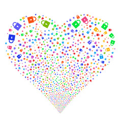 lock fireworks heart vector image
