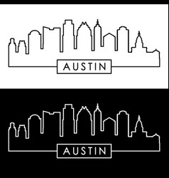 Austin skyline linear style editable file vector
