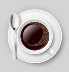 Cup of coffee with spoon on saucer top view on vector