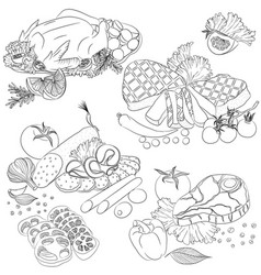 line art various meat products vector image