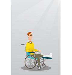 Man with broken leg sitting in a wheelchair vector
