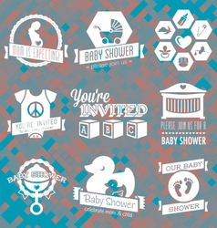 Baby Shower Invite Labels in Retro Sty vector image