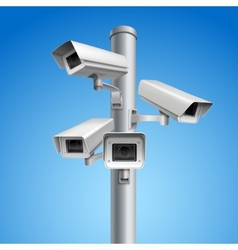 Surveillance camera pillar vector