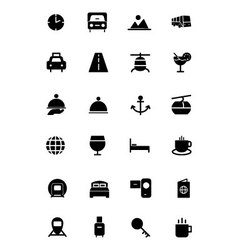 Travel solid icons 2 vector