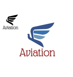 Aviation blue abstract icon or emblem vector