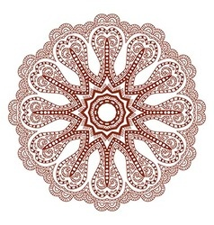 Abstract lacy round ornament isolated on white vector