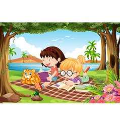 Girls reading under trees in beautiful park vector