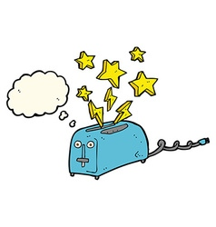 Cartoon sparking toaster with thought bubble vector