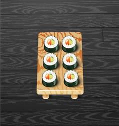 sushi roll set Japanese sushi vector image