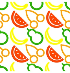 Pattern with colorful closeup fruits berries cherr vector