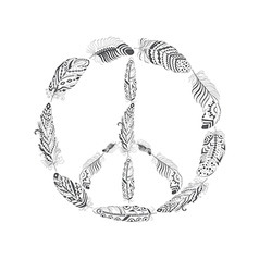 Peace hippie symbol with feather in boho style vector