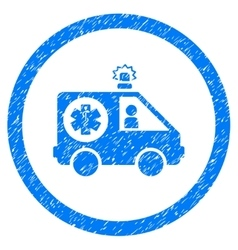 Ambulance car rounded icon rubber stamp vector