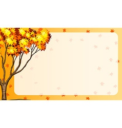 Autumn scene with tree and orange leaves vector