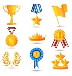 Award icons set vector image vector image