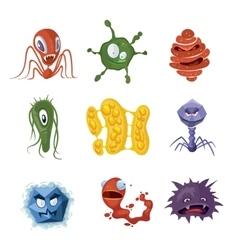 Bacteria virus germs cartoon characters vector image
