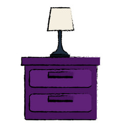 Bedroom lamp in drawer isolated icon vector