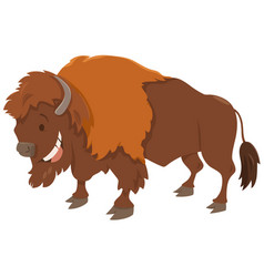 Bison cartoon animal character vector