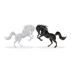 black and white angry twin horse graphic vector image vector image