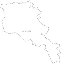 Black White Armenia Outline Map vector image vector image