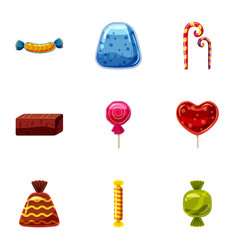 Chocolate candy icons set cartoon style vector