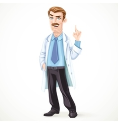 Doctor mustached man in a white medical coat vector image vector image