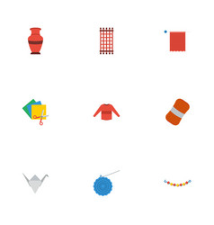 flat icons pottery needlework wool and other vector image vector image