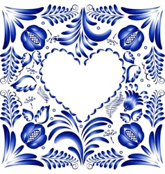 Flower frame in the form of heart Styling Gzhel vector image