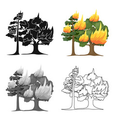 Forest fire icon in cartoon style for web vector