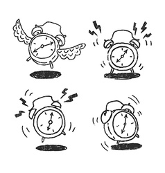 Four alarm clocks icons vector image