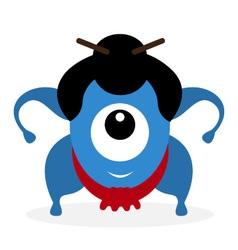 Funny cartoon sumo wrestler cyclops vector