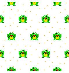 Green frog cartoon pixel art seamless pattern vector