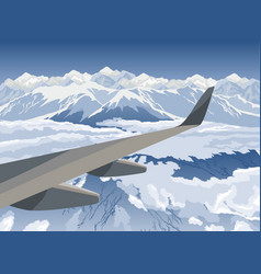 Landscape with mountains view from airplane vector