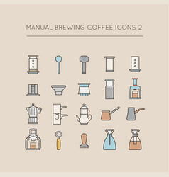 Manual brewing coffee icons 2 vector