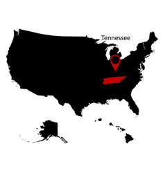 Map of the us state of tennessee vector