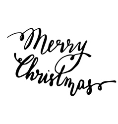 Merry Christmas Hand drawn lettering card vector image vector image