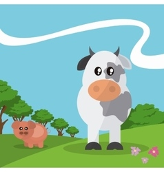 Pig and cow design graphic animal vector