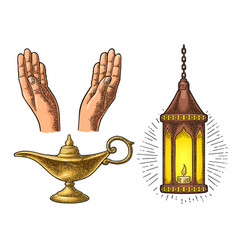 Praying hands arabic lamp with chain and aladdin vector