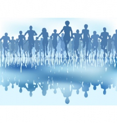 reflected runners vector image vector image