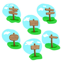Set of cartoon style wooden sign vector