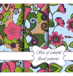 set of seamless patterns colorful floral vector image vector image