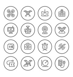 set round line icons of quadrocopter vector image vector image