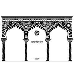 Silhouette of the arched eastern facade vector