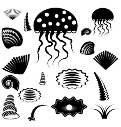 Silhouettes of sea animals vector